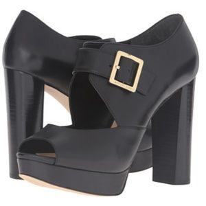 MICHAEL KORS Womens Eleni Platform Leather Peep